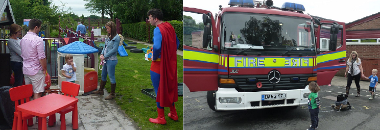 superman and fire engine