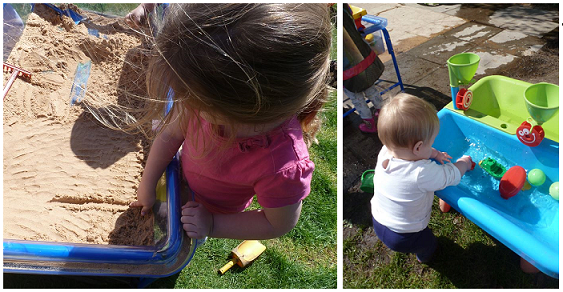 Playing with the sand and water tables